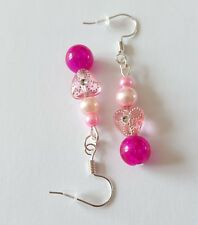 New Handmade Pink Glass Pearl Round Acrylic Triangle Silver Dangle Drop Earrings