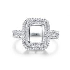 0.3CT Diamond 10K White Gold Emerald 8mmx6mm Engagement Luxurious Ring Jewelry