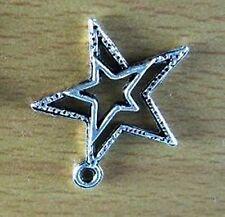 STELLA STAR CIONDOLO PORTAFORTUNA ARGENTO TIBETANO 23mm CHARM SILVER *ROCKSTAR*