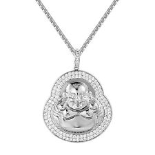 Buddha Pendant Simulated Diamonds Medallion Style White Gold Finish Free Chain