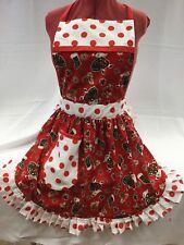 RETRO VINTAGE 50s STYLE FULL APRON - CHRISTMAS SANTAS - RED &  WHITE