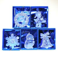 Christmas Ornaments Set of 5 Frosted Ice Sculptures - Dove Drummer Bell Santa