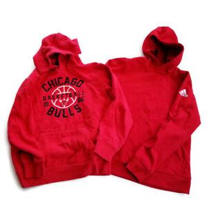 Boys Youth Sz L 14-16 Lot of 2 Red Hoodies Sweatshirts Adidas Chicago Bulls