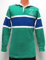 vtg WHALERS RUGBY SHIRT SMALL 80s/90s Barbarian green blue striped hockey jersey