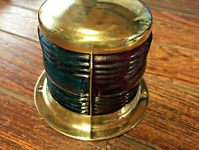 Vintage Small Perko Brass Bow Light, Red/Green Glass Lens New Socket/Led Bulb