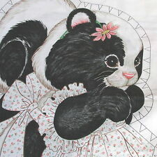 "Vtg 70s cotton fabric panel SKUNK doll pillow cut n sew 19"" tall pink daisy"