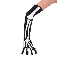 Women's Long Skeleton Bone Arm Warmer Wristband Halloween Sleeve Cosplay Gloves