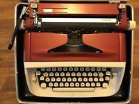 VINTAGE 1960's ROYAL CUSTOM RUBY RED MANUAL TYPEWRITER w/ HARD CARRYING CASE