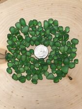32 GREEN SMALL TINY PIECES   JEWELRY TUMBLED MOSAIC BEACH SEA GLASS