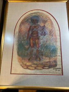 "S.V Antonio 1973 ""Fijian Woman Carrying A Vessel"" Mixed Media Painting - Framed"