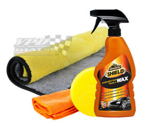 car wax all shield liquid polishing pad and large cleaning cloth Armor All