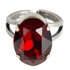 Grevenkämper Ring Silber Swarovski Kristall Oval Statement Cocktail Siam rot