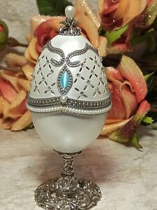 ANTIQUE Russian Faberge SILVER Egg GEMSTONE Lucky Jewelry Box HANDMADE .43ct