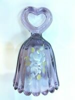 "Fenton Glass Bell Heart Handle Hand Painted Signed A. Farley 2"" X 3 1/2"" Inches"