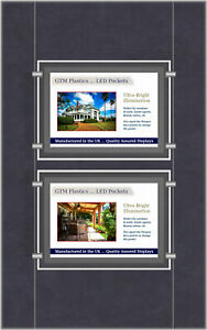 A3 LED Single Sided Pockets - Landscape 1x2 Display