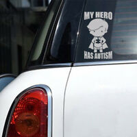 1Pc MY HERO HAS AUTISM Decal Sticker For Car Truck Laptop Decals White universal
