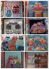 8 PCS Vintage Cartoon Cat Upholstery Fabric Tapestry Pillow Craft Cotton Panels