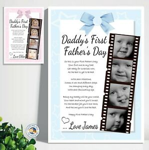FIRST FATHERS DAY GIFT personalised poem photo A4 print laminated DADDY BABY