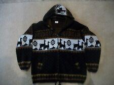 Artesanias Ecuadorian Alpaca Multi Color Wool Hooded Sweater Jacket Women Small