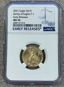 2021 $10 Gold American Eagle * NGC MS70 EARLY RELEASES * Type 1 * PERFECT COIN