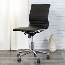 Mid-Back Armless Black Ribbed Leather Swivel Conference Chair BT-9836M-2-BK-GG