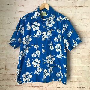 ❤️ Men's Vintage UI MAIKAI Blue & White Hawaiian Shirt Hibiscus Flowers Large L