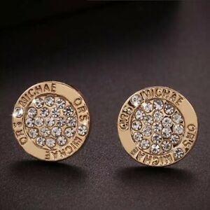 18K REAL GOLD FILLED STUD EARRINGS MADE WITH SWAROVSKI CRYSTALS GIFT MK2