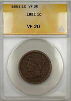 1851 Braided Hair Large Cent 1c Coin ANACS VF-20 (D)