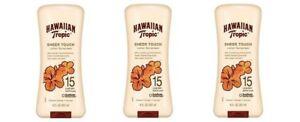 3 X Hawaiian Tropic Sheer Touch Sunscreen Lotion SPF 15UVA/UVB~ 8 oz. each