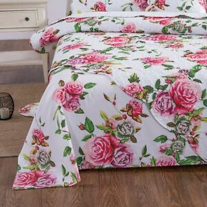 DaDa Bedding Romantic Roses Garden Spring Pink Floral Flat Bed Sheet Cover Only