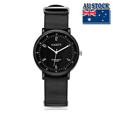 Hot Black Leather Luxury Classic Mens Black Dial Quartz Sports Wrist Watch