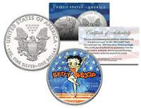 BETTY BOOP 2001 American Silver Eagle Dollar 1 oz Colorized US Coin * LICENSED *
