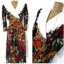 Vintage 80s Floral Tea Party Wrap Dress Size Small Lace Pleated Wide Collar