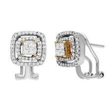 14k Yellow & White Gold 0.75ctw Diamond Double Halo Omega Earrings