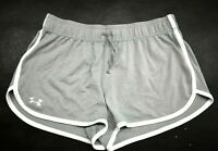 Under Armour Womens Gray Lightweight Running Semi Fitted Logo Workout Shorts S