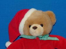 RED PAJAMA CHRISTMAS BABY RATTLE TEDDY BEAR PLUSH BUNNY SLIPPER STUFFED ANIMAL