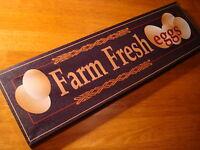 FARM FRESH EGGS Sign Black & Brown Farmhouse Kitchen Wall Home Decor Sign NEW