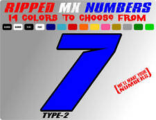 RIPPED 2 COLOR MX NUMBER PLATE RACING DECALS MOTOCROSS GRAPHIC STICKERS GOKART
