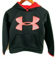 Under Armour Logo Hoodie Hooded Sweatshirt Boys Youth Red Black S Small YSM/JP