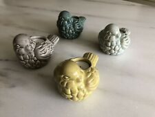 "Set of Four Bird Design Votive Ceramic Crackle Finish Candleholders~4"" x 6"""