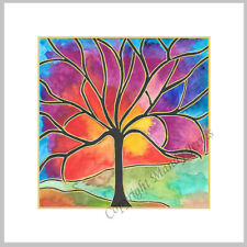 Tree Sunset Sky - Watercolour Print Greeting Card - Birthday / Notelet / Blank