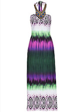 Bodyflirt @Kaleidoscope Size 10 Green Multi Batik Print Maxi DRESS Beads Halter