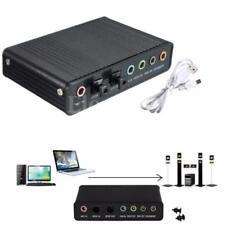 USB EXTERNA S/PDIF óptico sonido Tarjeta 5.1CH Caja DAC audio para PC Portátil