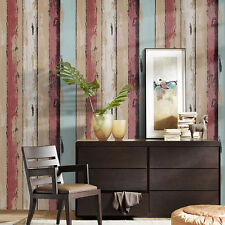 Wood Panel Peel Stick Wallpaper Crimson/Brown/Tan/Lt.Blue Self Adhesive Contact