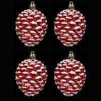 Christmas Tree Decoration - Pack of 4 Pine Cones - Red & White