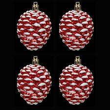 Arbre de noël décoration-pack de 4 pommes de pin-rouge & blanc