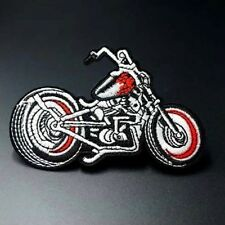 Woven IRON-ON PATCH Sew Embroidery Applique Fashion Badge RED MOTORCYCLE