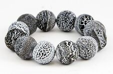 Black White Round Polished Volcano Lava Rock Bead Bracelet 12 Beads Elastic 6.5""