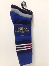 NWT POLO RALPH LAUREN MEN'S DRESS SOCKS 3-PAIR 2-SOLID 1 STRIPPED MULTI SZ 10-13