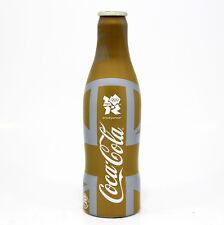 Coca Cola Coke Alu aluminum bottle Olympic UK 2012 Gold Union Jack empty